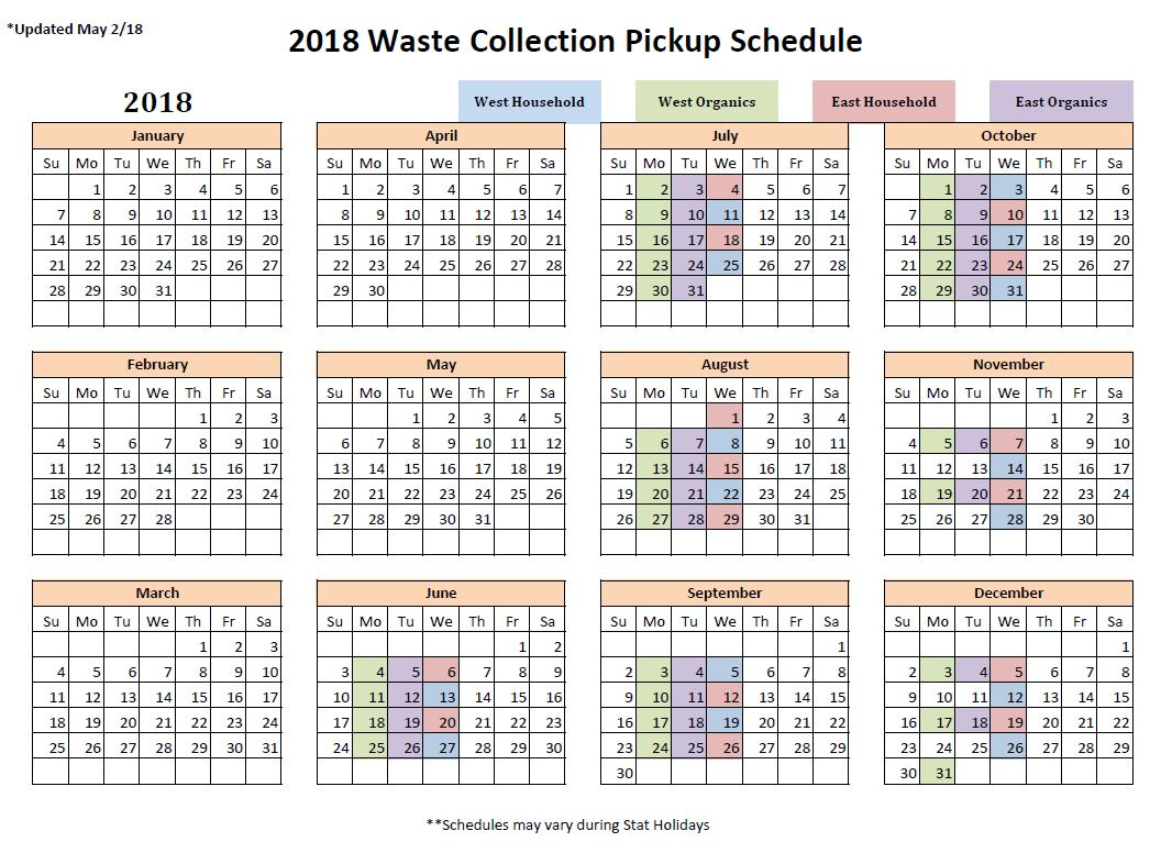 Waste Collection Schedule: Town News | Town of Edson - The